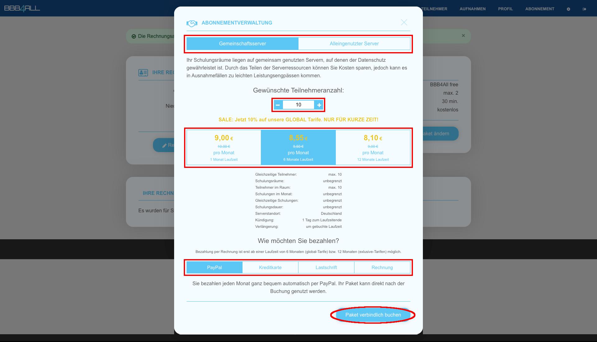 Schritt 5 - Füllen Sie das Buchungsformular aus und schließen anschließend die Zahlung ab