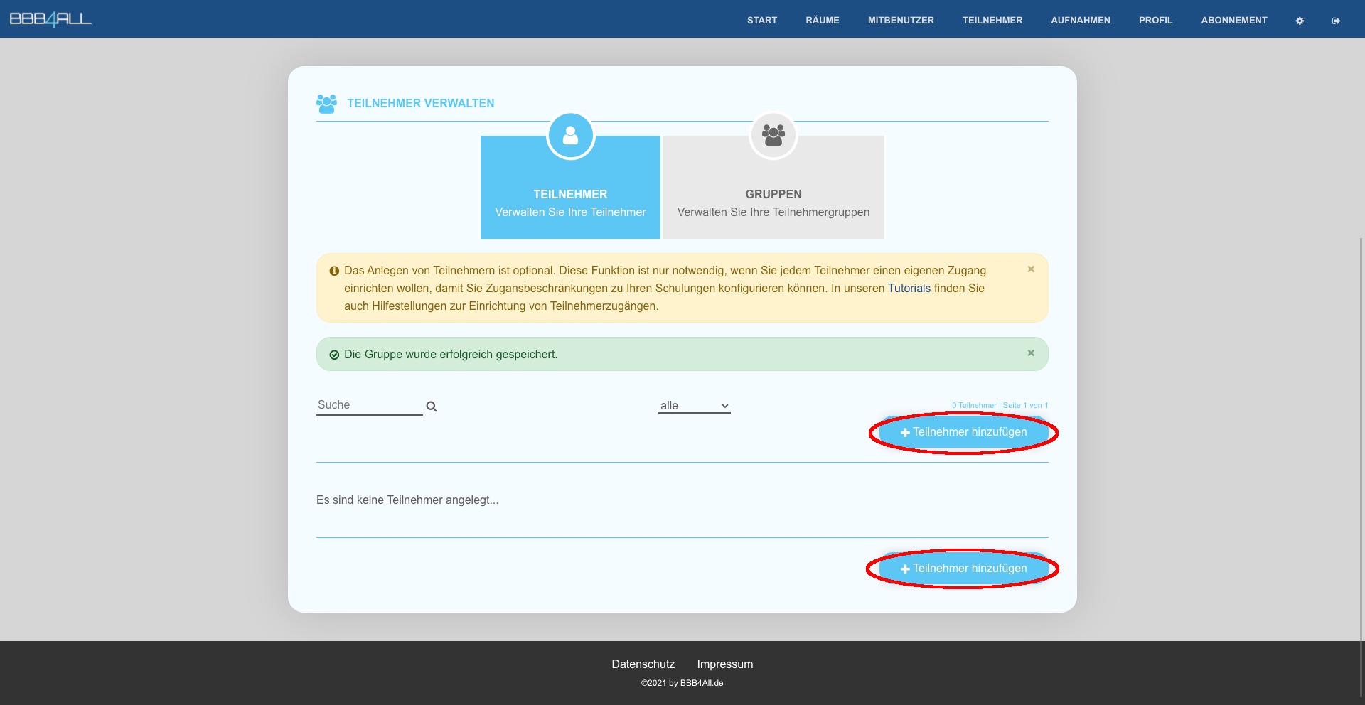 Schritt 5 - Klicken Sie auf Teilnehmer hinzufügen